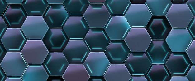 Fundo abstrato futurista tecnológico. as células hexagonais são iluminadas.