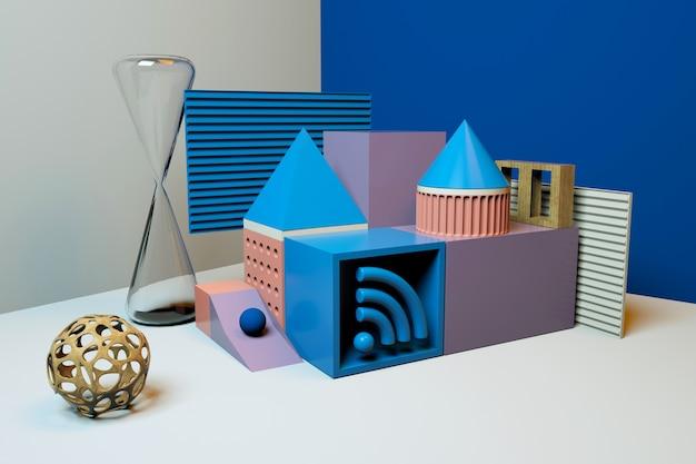Fundo abstrato geométrico com playground para exposição de produtos