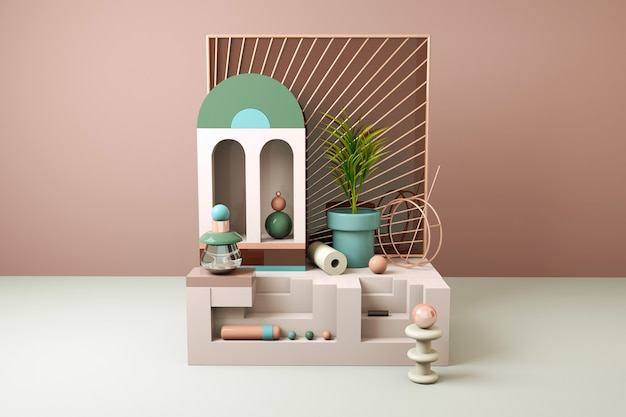 Fundo abstrato geométrico com sofá e flor para exposição de produtos