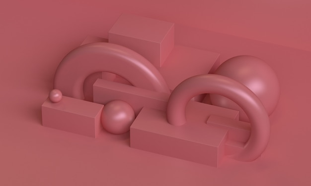 Fundo abstrato geométrico primitivo minimalista rosa, pódio na moda elegante ilustração, carrinho, vitrine na cor pastel para produto premium. 3d rendem.