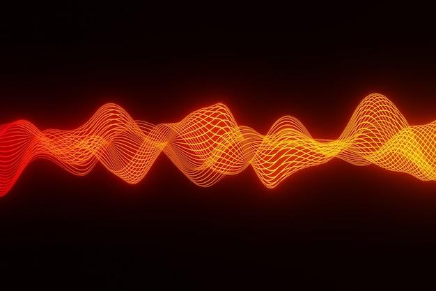 Fundo abstrato laranja áudio onda batida de coração renderização em 3d