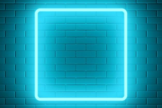 Fundo abstrato. luz de néon azul com parede de tijolos. renderização 3d