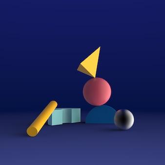 Fundo abstrato mínimo 3d que rende a forma geométrica