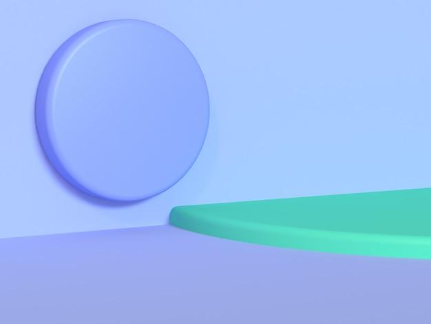 Fundo abstrato mínimo violeta-azul-roxo círculo rodada cena curva verde renderização em 3d