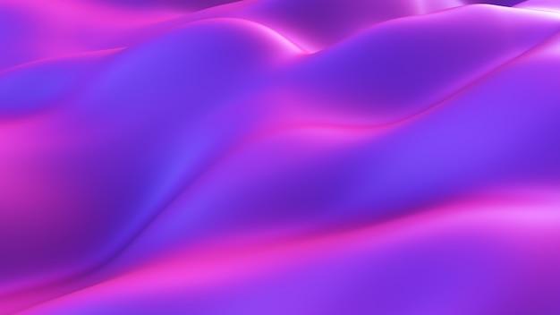 Fundo abstrato movimento. fundo fluido moderno roxo azul do ruído. superfície deformada com reflexos e sombras suaves. ilustração 3d