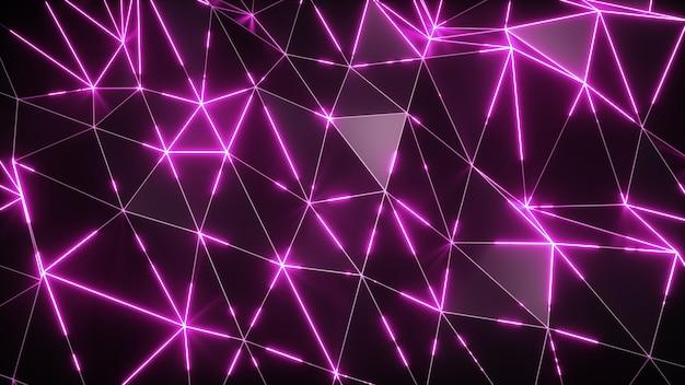 Fundo abstrato movimento. superfície ondulada escura de baixo poli com luz rosa brilhante. ilustração 3d