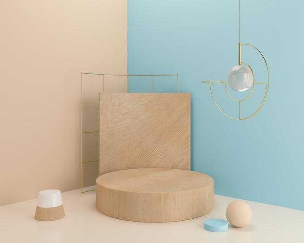 Fundo abstrato para a apresentação do produto, exposição de madeira do pódio, cena pastel mínima, rendição 3d.