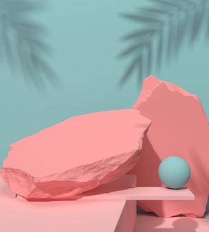 Fundo abstrato para a apresentação do produto, exposição do pódio, cena pastel mínima da rocha, rendição 3d.