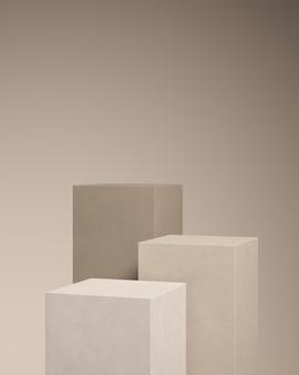 Fundo abstrato para a marca do produto. mock up cena com espaço vazio. renderização 3d