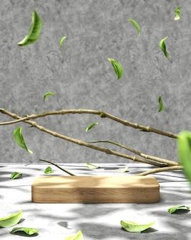 Fundo abstrato para apresentação do produto, guarda-sol e sombra na plataforma de madeira, ramos e folhas compõem a cena. renderização 3d