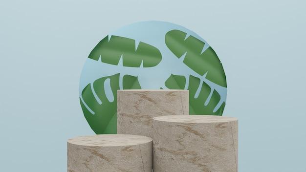 Fundo abstrato para exibição de produtos cosméticos pódio de mármore e folha em fundo azul pastel renderização 3d