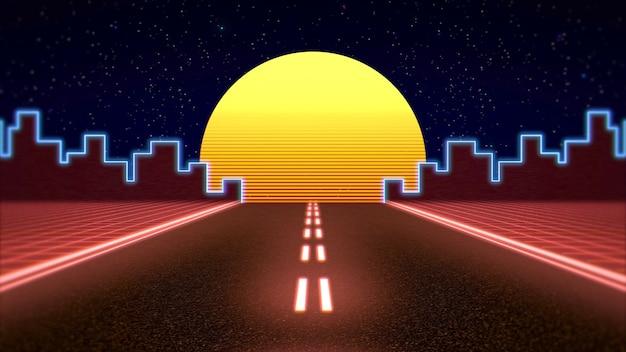 Fundo abstrato retro, estrada vermelha e cidade. ilustração 3d elegante e luxuosa dos anos 80 e 90