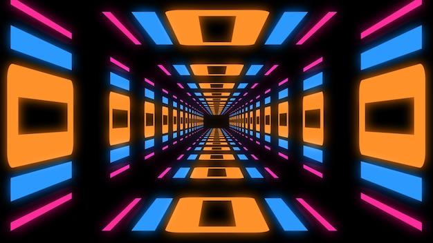 Fundo abstrato sci-fi do túnel de renderização 3d