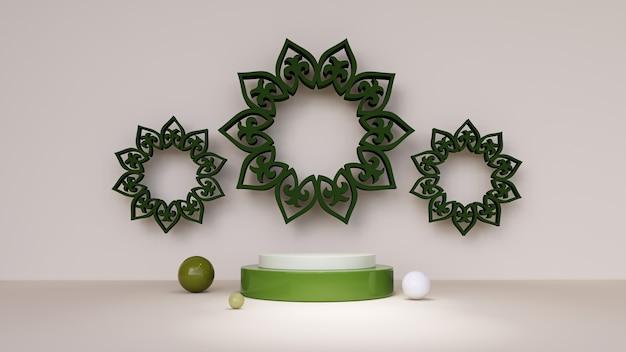 Fundo abstrato, simulação de cena para o conceito de exibição de produto do ramadan mubarak. renderização 3d