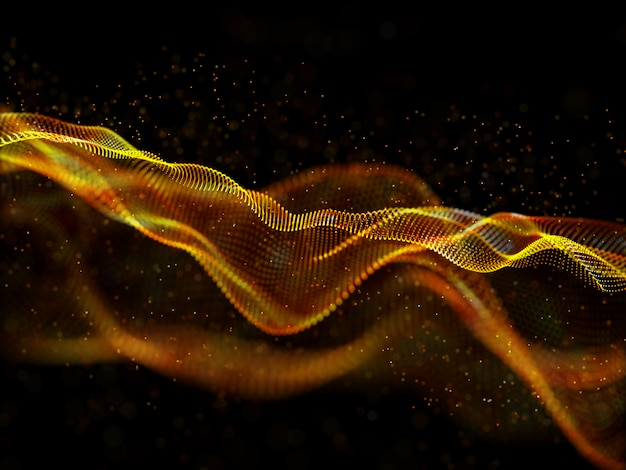 Fundo abstrato techno 3d com design de partículas