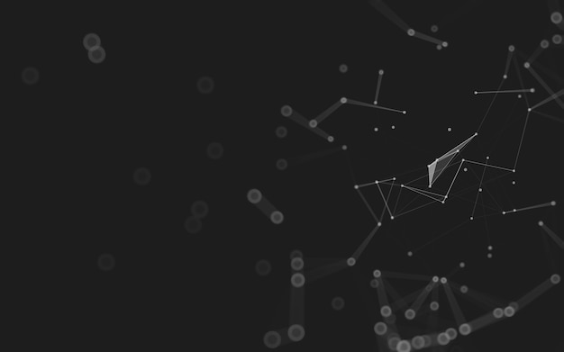 Fundo abstrato. tecnologia de moléculas com formas poligonais, conectando pontos e linhas. estrutura de conexão. visualização de big data.