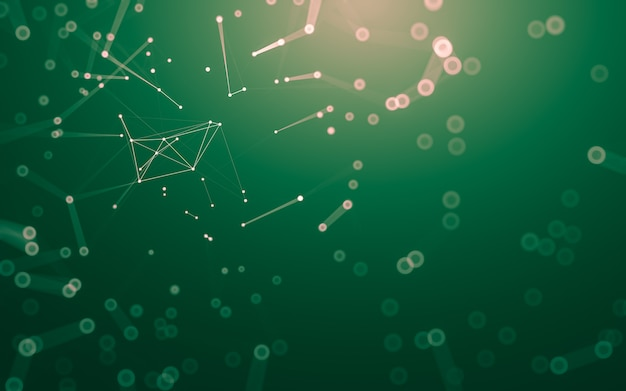 Fundo abstrato. tecnologia de moléculas com formas poligonais, conectando pontos e linhas.