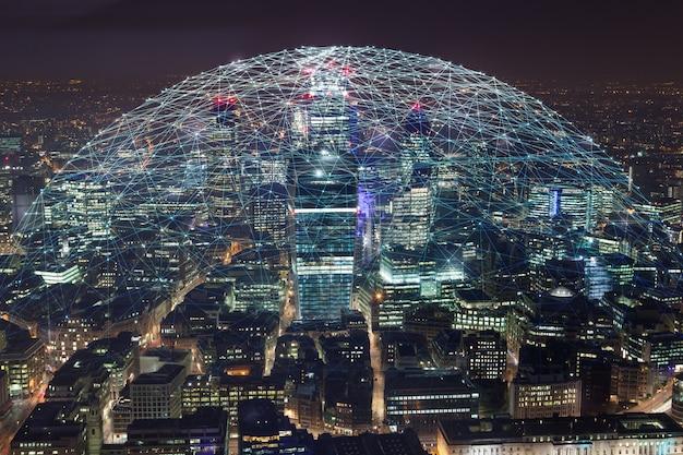 Fundo abstrato tecnologia em londres para o conceito de negócio global