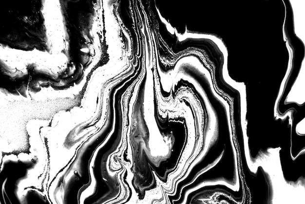 Fundo acrílico de mármore abstrato preto e branco