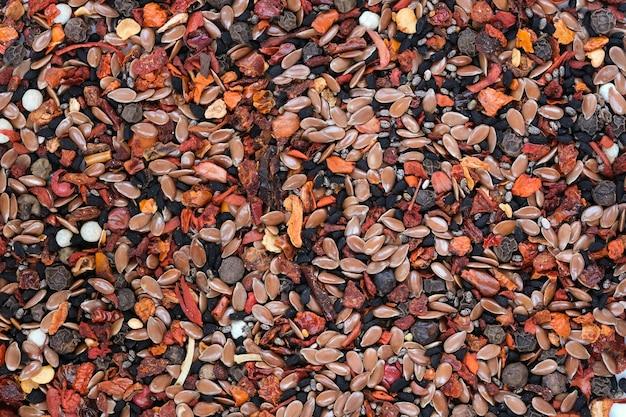 Fundo alimentar de sementes aromáticas picantes e amargas, especiarias culinárias, macro fotografia em close-up