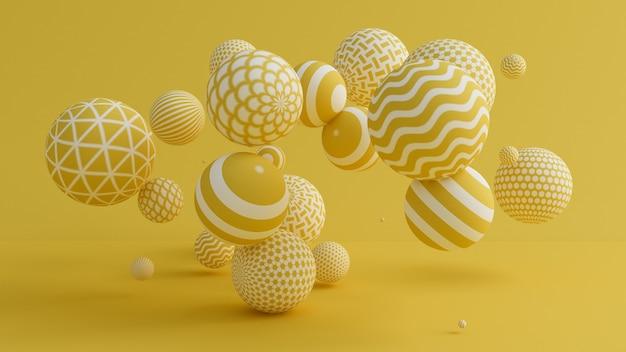 Fundo amarelo com bolas. ilustração 3d, renderização em 3d.