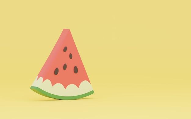 Fundo amarelo com melancia, renderização 3d. minimalismo
