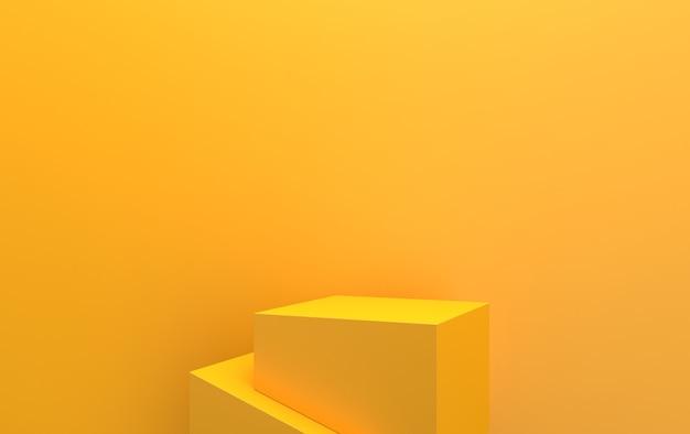 Fundo amarelo, conjunto de grupos de forma geométrica abstrata de pedestal cúbico, renderização em 3d, cena com formas geométricas