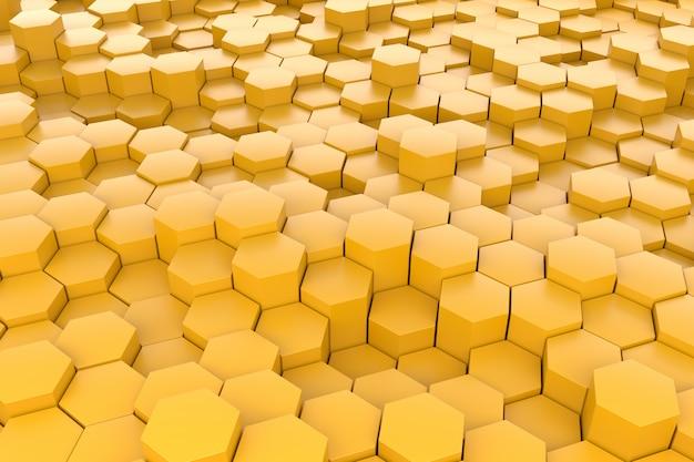 Fundo amarelo do teste padrão do hexágono 3d