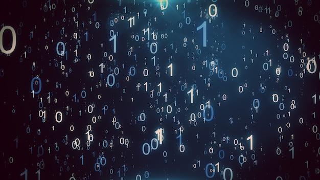 Fundo animado apresentando uma chuva de partículas de números binários caindo simulando o efeito da matriz. ilustração 3d