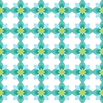 Fundo aquarela com azulejos. projeto chique do verão do boho fabuloso verde. borda de aquarela com azulejos de pintados à mão. estampado majestoso pronto para têxteis, tecido de biquíni, papel de parede, embrulho.