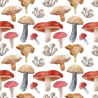Fundo aquarela com diferentes tipos de cogumelos