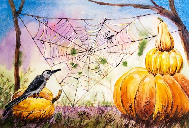 Fundo aquarela de halloween. abóboras e teias de aranha na floresta festiva