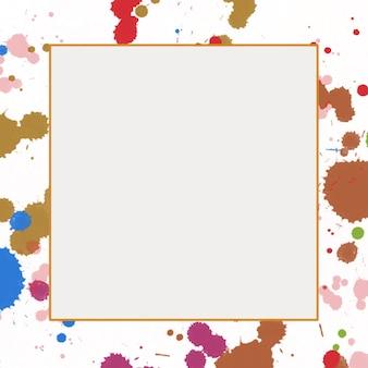 Fundo aquarela multicolorido abstrato com moldura quadrada