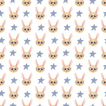 Fundo aquarela sem costura infantil com cabeças de lebre em copos com azul e estrelas em um fundo branco. imprimir para meninos, crianças e 23 de fevereiro