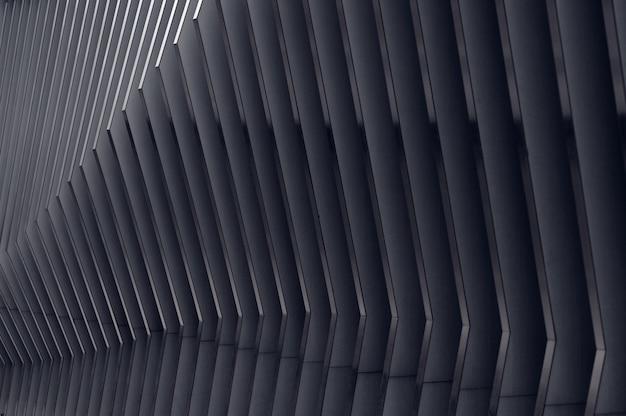 Fundo arquitetônico moderno, metal arqueado, composição em perspectiva semicircular molda a luz no final