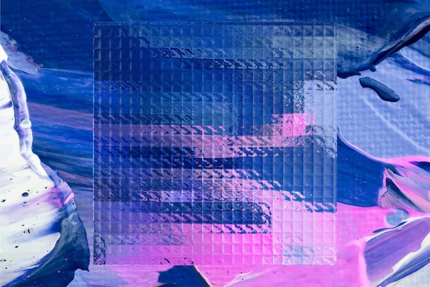 Fundo azul aquarela abstrato com vidro fosco e pinceladas de tinta