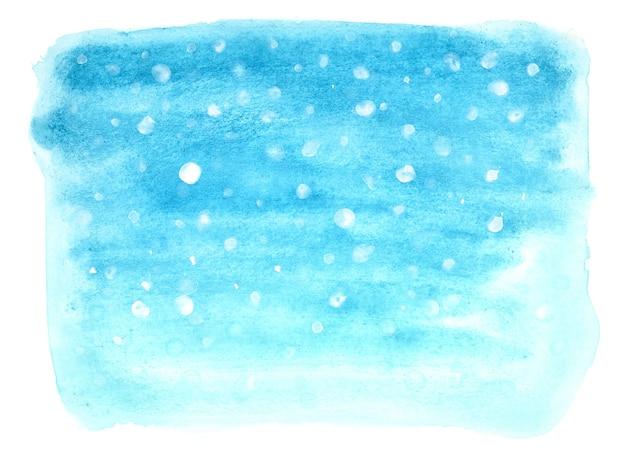 Fundo azul aquarela de inverno com neve caindo