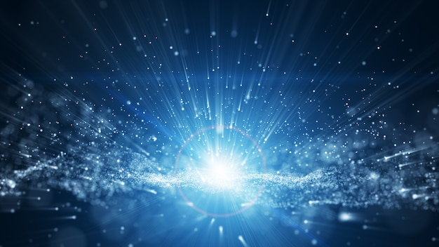 Fundo azul, assinatura digital com partículas de onda