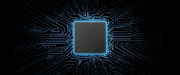 Fundo azul brilhante da placa de circuito