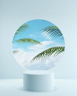 Fundo azul da natureza com árvores tropicais e pódio de nuvens para fotos de produtos