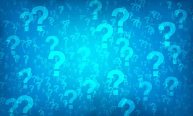 Fundo azul do teste padrão aleatório do ponto de interrogação. ilustração.
