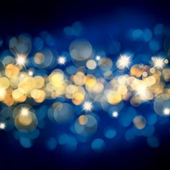 Fundo azul e dourado de natal com luzes de bokeh e estrelas