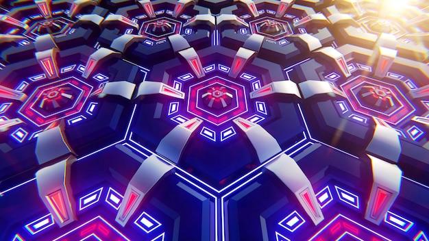 Fundo azul e laranja preto dos hexágonos. fundo moderno. ilustração 3d.