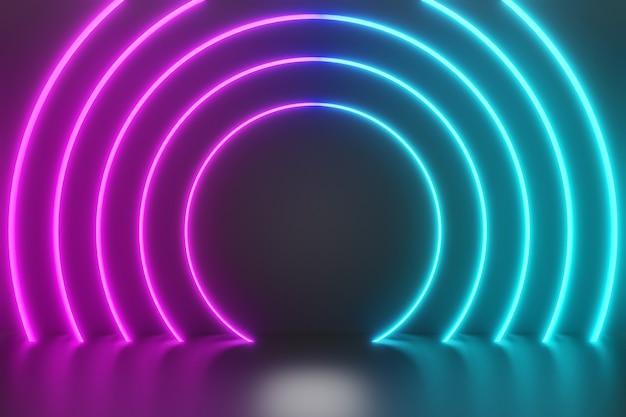 Fundo azul rosa do círculo de iluminação de néon. renderização de ilustração 3d.