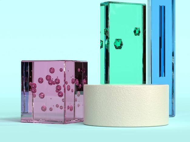 Fundo azul rosa verde azul vidro transparência material forma geométrica mínimo abstrato 3d rendering