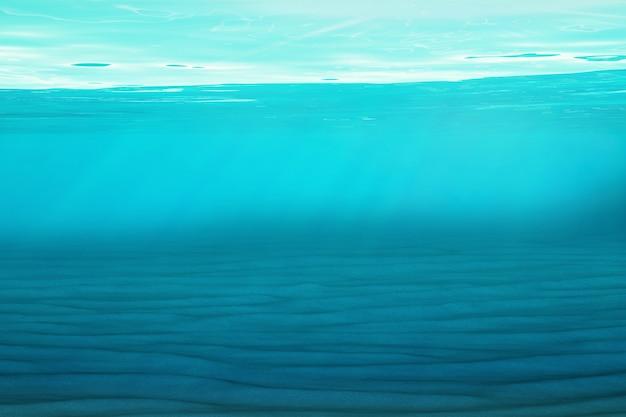 Fundo azul subaquático no mar, oceano, com luz de volume. renderização em 3d