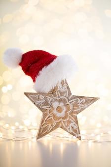 Fundo bokeh de natal com estrela decorativa