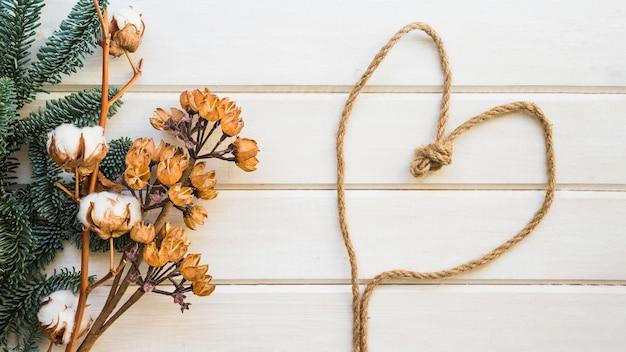 Fundo botânico com corda