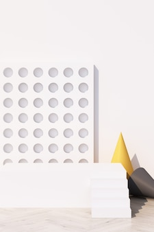 Fundo branco abstrato com pódio de forma geométrica para produto com sombra na parede. conceito mínimo amarelo e cinza. renderização 3d