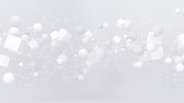 Fundo branco brilhante com ilustração 3d de balões
